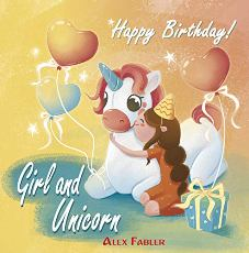 Girl and Unicorn - Happy Birthday - Book cover